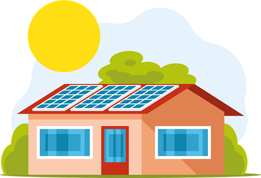 A clipart showing solar system installation on a home
